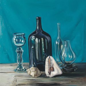 Still-life win Bottles. 1998, oil on canvas, 70x70, (H. Abrahamyan Collection, Yerevan)