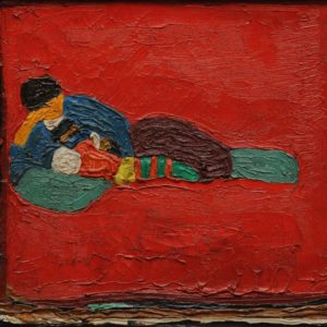 Ira with the Child on the Ottoman. 1982, oil on canvas, 41x31