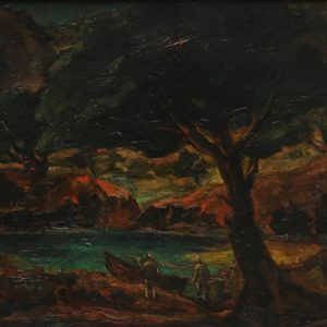 Fishermen in the evening. 1985, oil on canvas, 45,5x39