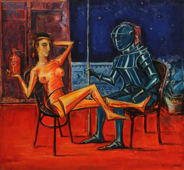 Woman with the Knight. 1996, oil on canvas, 70x75