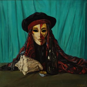 "Mask with a Hat, from ""Venetian Masks"" cycle. 2009, oil on canvas, 70x70"