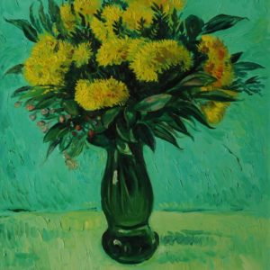 Flowers against Green Background. 2001, oil on canvas, 82,5x67