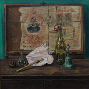 Still Life with Parajanov's Trunk. 2005, oil on canvas, 70x70