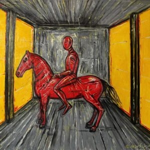 Red horse, yellow walls. 2013, oil on canvas, 54x65