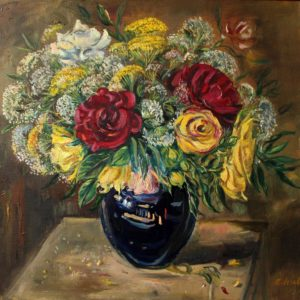 A bunch of flowers in a blue vase. 2015, oil on canvas, 55.5x60
