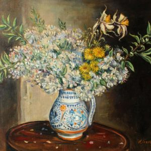 A bunch of flowers in a Florentine jar. 2015, oil on canvas, 50x60