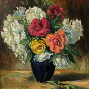 Beautiful roses in the garden. 2015, oil on canvas, 42x41