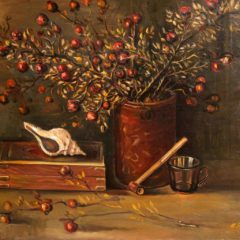 Still life with a smoking pipe and a rose hip branch. 2004, oil on canvas, 56x71
