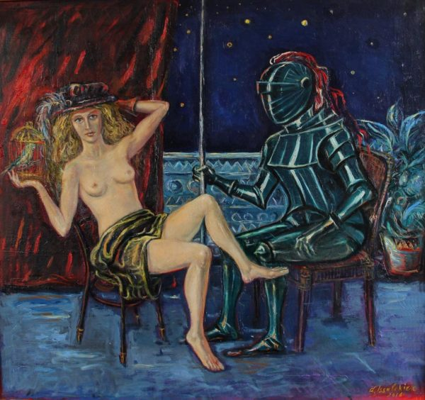 The woman with a knight, 2016, oil on canvas, 70x75