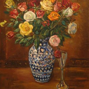 Roses in the vase․ 2005, oil on canvas, 70x70