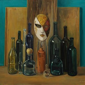 Mask with Bottles. 2010 oil on canvas, 70x80