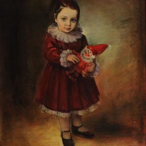 Little Anna with a Dwarf. 1989, oil on canvas, 100x80