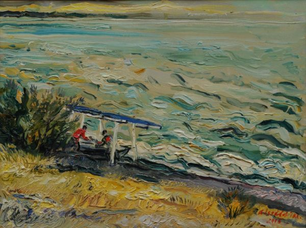 Fishermen at the waves of the sea․ 2006, oil on canvas, 30x40