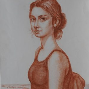 Portrait of Anna. 2001, sanguine on paper, 65 x 50