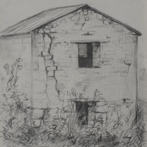 Old Watermill in Byurakan. 1974, charcoal on paper, 32x25