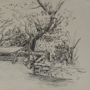 In the Yard of Painter Vahan Khorenian. Ashtarak. 1979, pencil on paper, 21x30