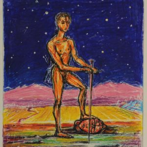 David Victorious over Goliath. 1992, pastel on paper, 27x21