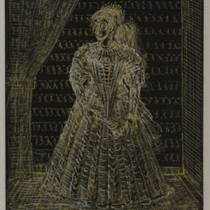 Infanta. 2003, gold ink on paper, 26 x 21
