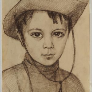 Mherik in Cowboy Hat. 1987, charcoal on paper, 43x31