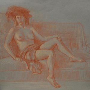 Model in Florentine Hat. 1999, pastel on paper, 50 x 65