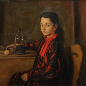 Anna with an Old Lamp. 1995, oil on canvas, 70x75