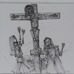 Crucifixion. 2009, pen on paper, 28 x 42