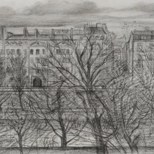 The Seine from Cite des Arts. 1996, pencil on paper, 29 x 41
