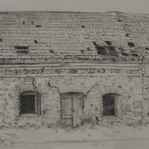 Abandoned Cottage in Dilijan. 1982, pencil on paper, 25 x 32