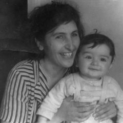 With mother, artist Arpenik Nalbandian. 1955