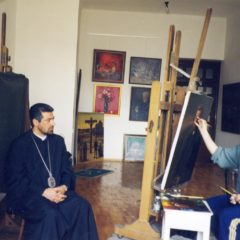 Working on the portrait of Archbishop Navasard Ktchoyan. Yerevan