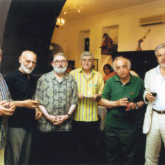 With a group of artists at an exhibition in the National Gallery of Armenia. 1999