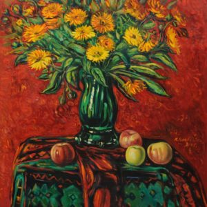 Fruit & flowers on the red background․ 2005, oil on canvas, 80x75
