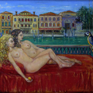 In the balcony (Venice) . 2013, oil on canvas, 40x50