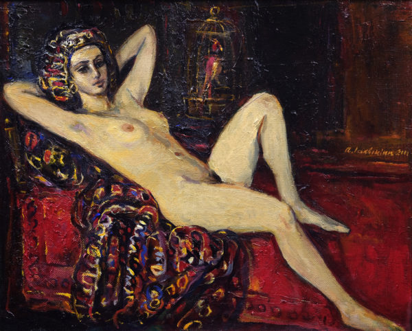 Nude with a Parrot. 2001, oil on canvas, 45x55