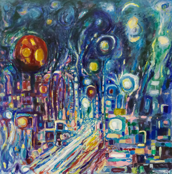 Street, night․ 2019, acrylic on canvas, 100x100